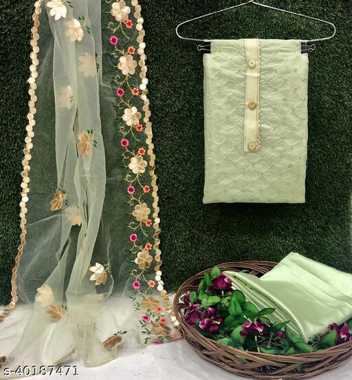 Semi Modal with Sequence Work and Gota Patti Work Dress Material