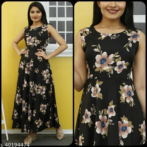 Women Black & Green Floral Print Maxi Dress