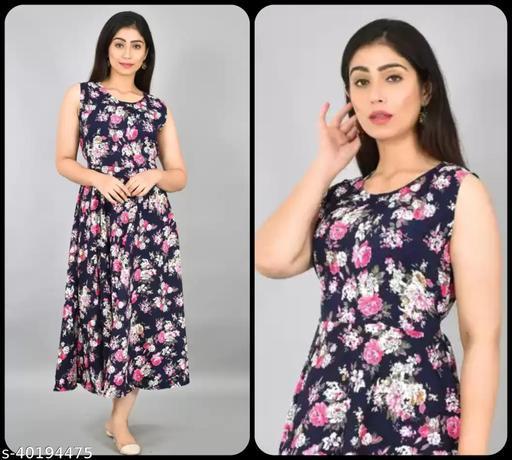 Women Navy Blue & Pink Floral Print Maxi Dress