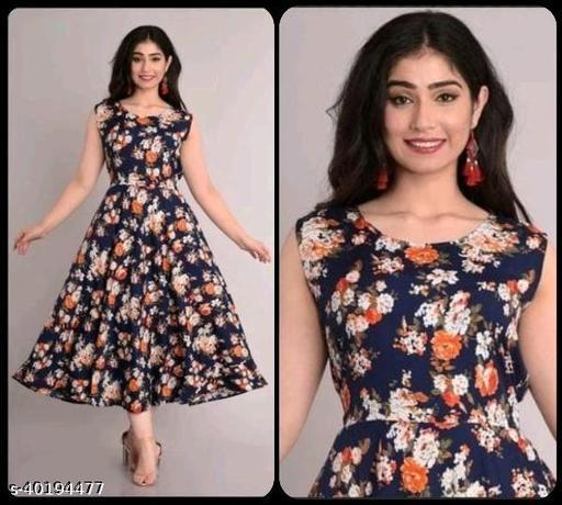 Women Navy Blue & Orange Floral Print Maxi Dress