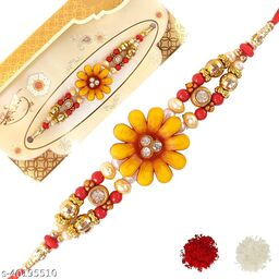 DSL Enterprise Rakhi for Brother Flower Stone Design Rakhi Pack of 1 For Men/Boys/Children