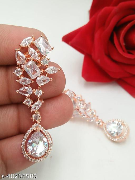 Rose Gold Tilak Style Latkan Fancy Earring