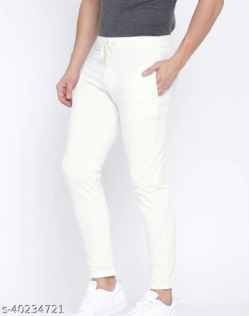 Solid Men White'White Nylon polyester Track Pants