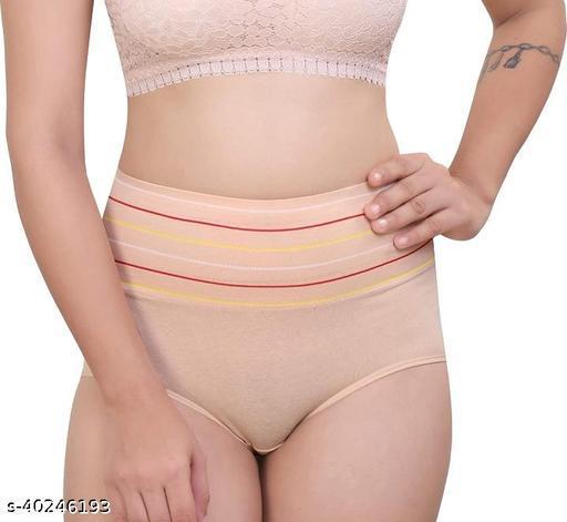 Women Hipster Cream Hosiery Panty