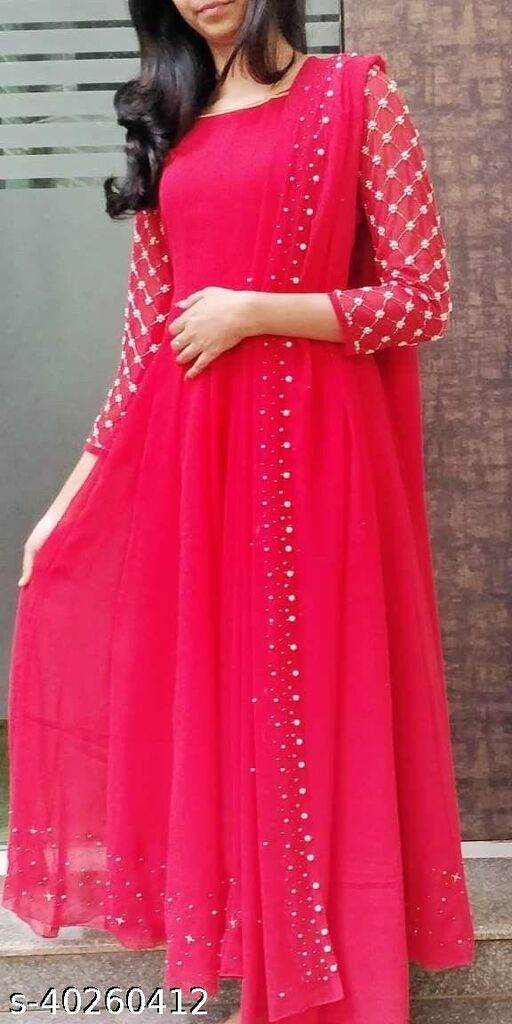 Exclusive nack pattern Red colored Georgette  With soft net pearl work Ready made Gown