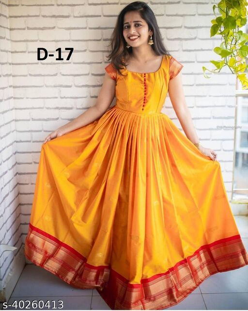 Exclusive nack pattern Yellow colored Tafeta silk with Jacquard fabric Ready made Gown