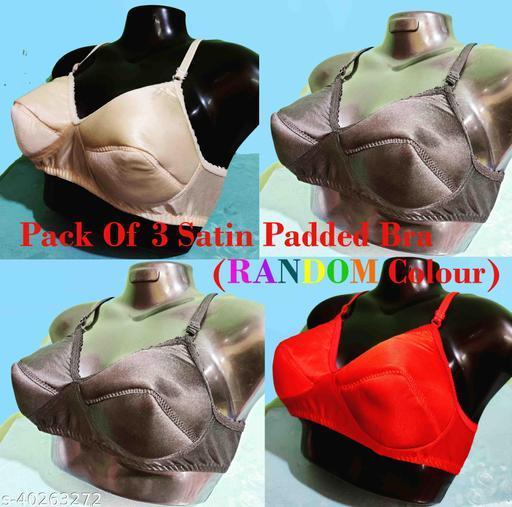 Women Satin Padded Bra Pack Of 3 (Random Colour will be Send)