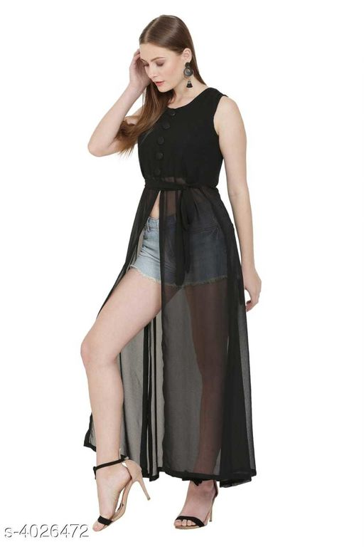 Women's Black Poly Georgette Dress