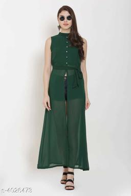 Women's Green Poly Georgette Dress