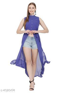 Women's Blue Poly Georgette Dress