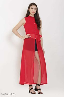 Women's Red Poly Georgette Dress