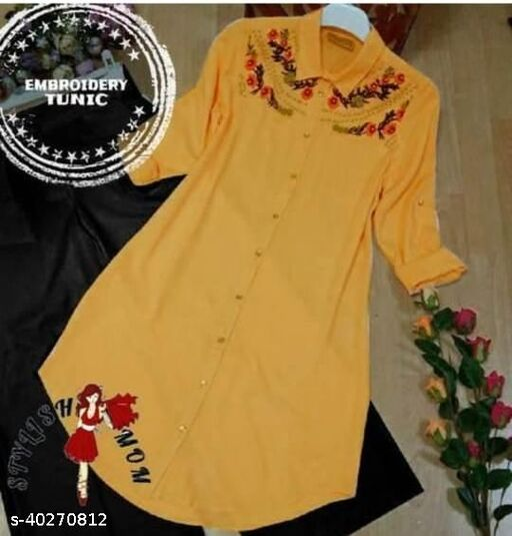 Women's Embroidered Mustard Rayon Tops & Tunics
