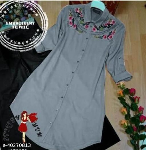 Women's Embroidered Grey Rayon Tops & Tunics