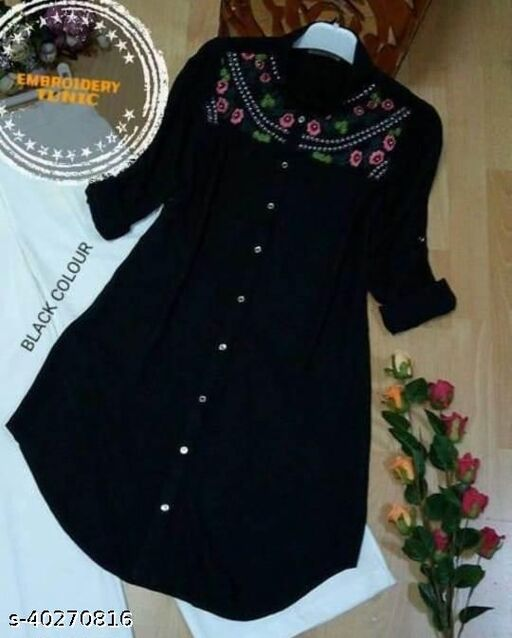 Women's Embroidered Black Rayon Tops & Tunics