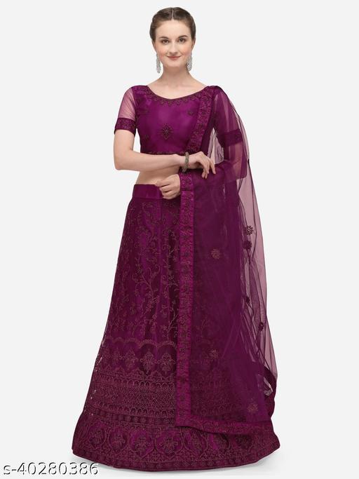 Women'S Purple Semi Stiched Embroidered Net Lehenga Choli