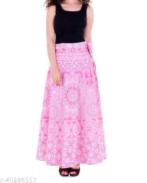 Women's Stylish Jaipuri Print Cotton Wrap Around  Skirt