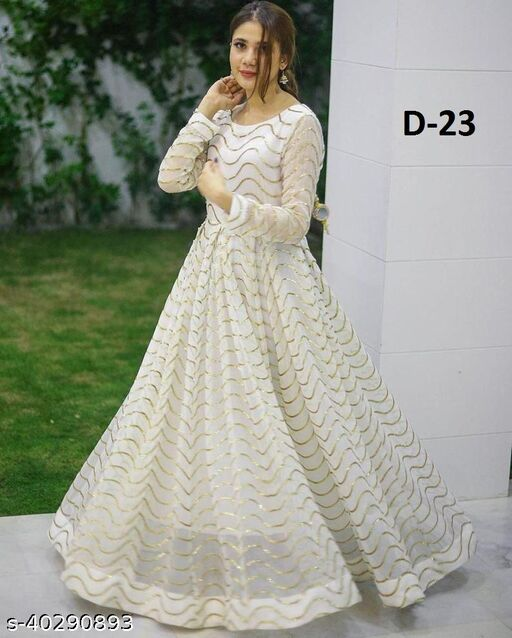 Stunning Foil Patti Work Off White Cotton Floor Length Long Gown