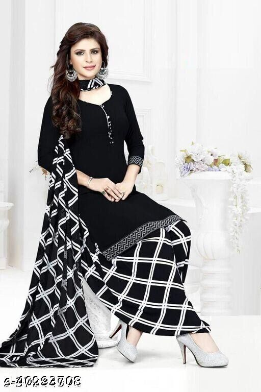 Dutt Textiles Same as In Image No different Printed  Black Color Crepe Unstitched Salwar Suit/Kameez Dress Material For Womens & Girls All For Occation