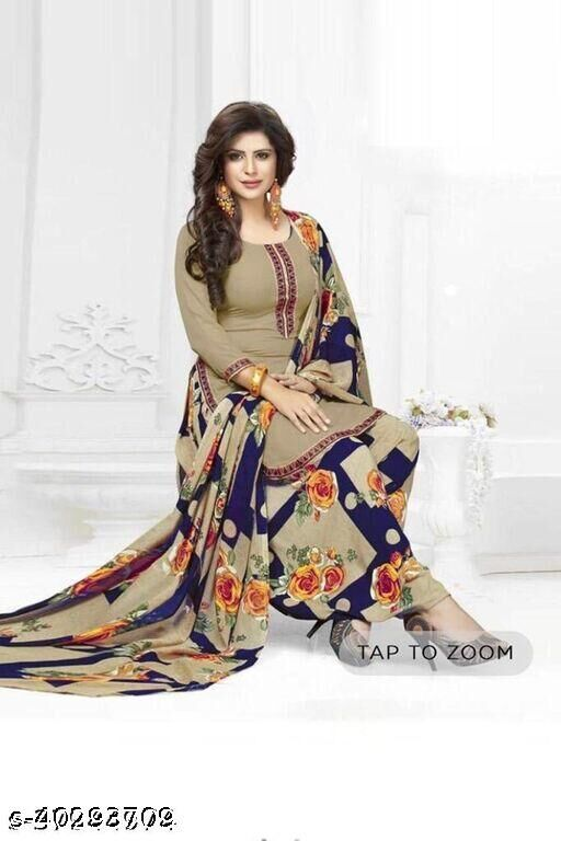 Dutt Textiles Same as In Image No different Printed Beige Color Crepe Unstitched Salwar Suit/Kameez Dress Material For Womens & Girls All For Occation