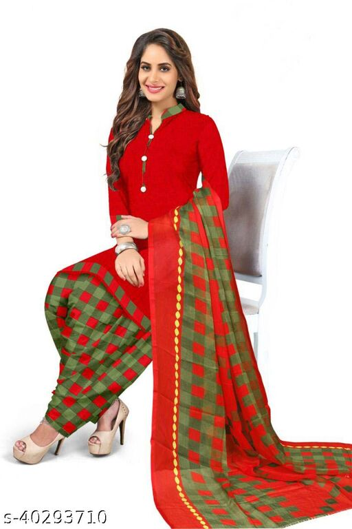 Dutt Textiles Same as In Image No different Printed Red Color Crepe Unstitched Salwar Suit/Kameez Dress Material For Womens & Girls All For Occation