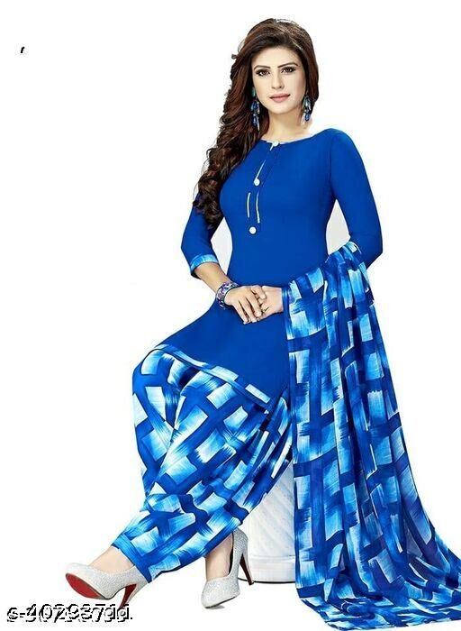 Dutt Textiles Same as In Image No different Printed Blue Color Crepe Unstitched Salwar Suit/Kameez Dress Material For Womens & Girls All For Occation