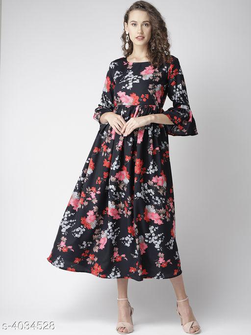 Printed Black Calf-Length Poly Crepe Dress