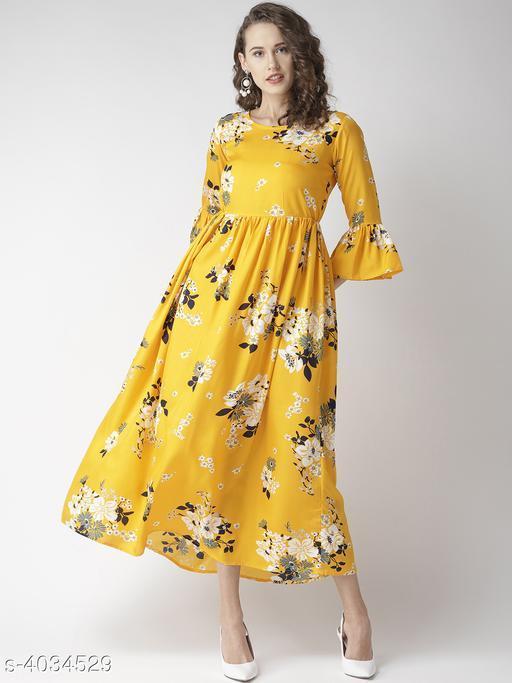 Printed Yellow Calf-Length Poly Crepe Dress