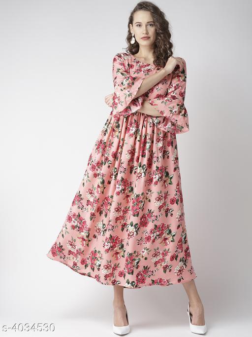 Printed Pink Calf-Length Poly Crepe Dress