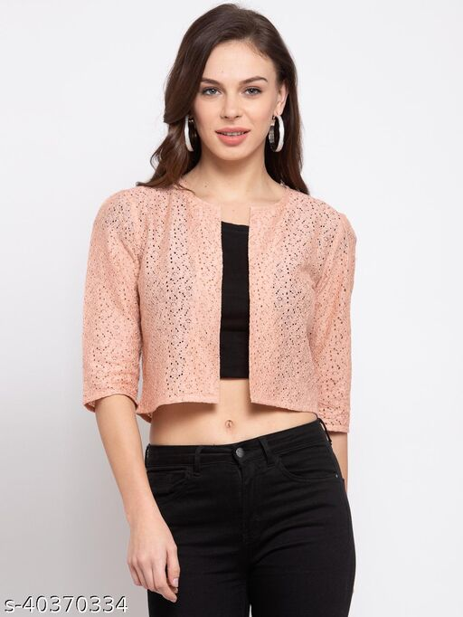 Style Quotient Womens Nude-Coloured Self Design Open Front Cropped Shrug