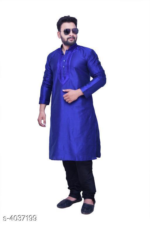Kurta Sets   MEN'S EMBROIDERED KURTA PAJAMA  *Fabric* Kurta - Banarasi  Silk,Pajama -Banarasi  Silk  *Sleeves* Full Sleeves Are Included  *Size* Kurta - M , L , XL , XXL , XXXL (Refer Size Chart) Pyjama- Up  To 48 in To 56 in ( Free Size )   *Length* Kurta - (Refer Size Chart), Pajama - Up To 50 in  *Type* Stitched  *Description* It Has 1 Piece Of Men's Kurta With 1 Piece Of Pajama  *Color* Blue  *Work /  Pattern* Kurta - Embroidery, Pajama - Solid  *Sizes Available* M, L, XL, XXL, XXXL *    Catalog Name:  Classic Trendy Stylish Men's Kurta Sets Vol 2 CatalogID_572105 C66-SC1201 Code: 7631-4037199-