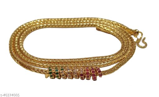 VR Fashion HUB Americna Diamond Copper Mugappu Chain For Women
