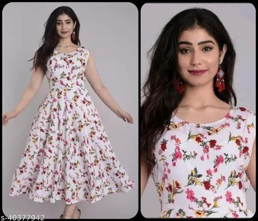 Women White & Red Floral Print Maxi Dress