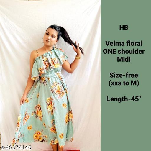 VELMA one shoulder midi dress by High-Buy- Free size (xxs/xs/s/m) (strechable frpm underbust)- Green