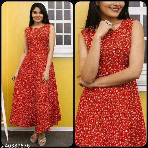 Women Red & White Floral Print Maxi Dress