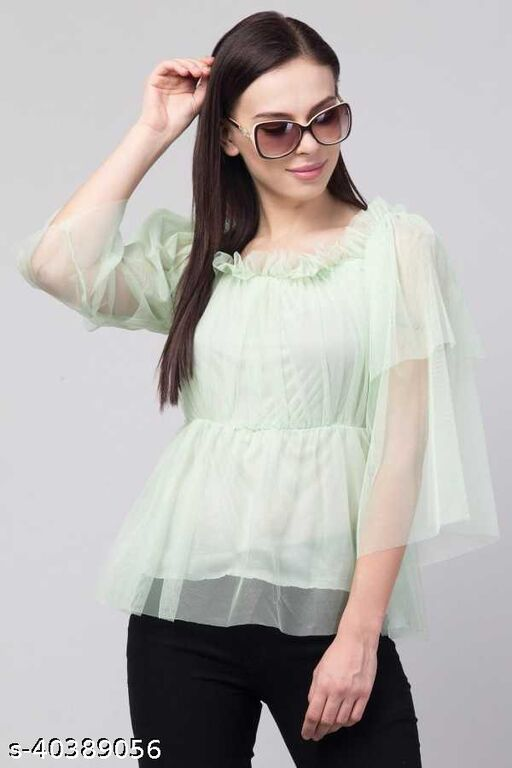 Women Latest Mint Green Solid Top
