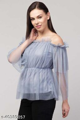 Women Latest Grey Solid Top