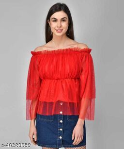 Women Latest Red Solid Top
