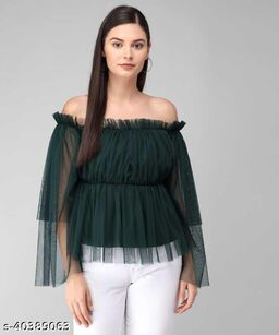 Women Latest Green Solid Top