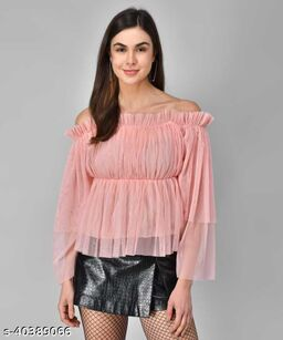 Women Latest Baby Pink Solid Top