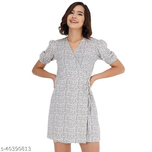 White Ditsy Print Dress