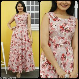 Women Pink Floral Print Maxi Dress
