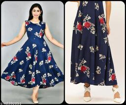 Women Navy Blue & Red Floral Print Maxi Dress