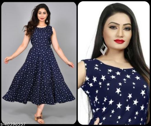 Women Navy Blue & White Star Print Maxi Dress