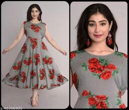 Women Red & Off White Floral Print Dress