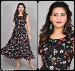 Women Black & Red Floral Print Dress