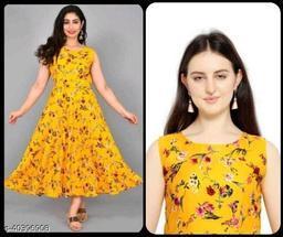 Women Mustard Yellow & Red Printed Dress