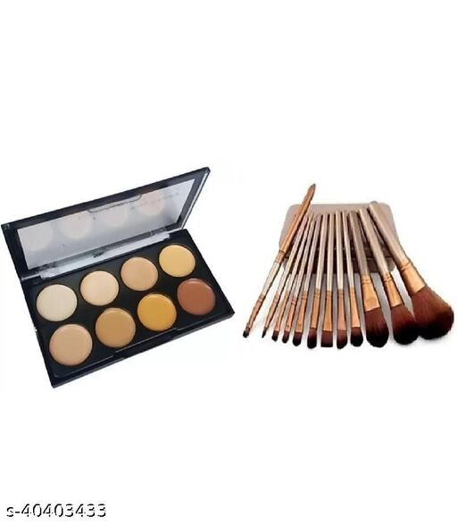 Highlighter & Contour platte Easy to Wear Long lasting+ makeup brush set of 12