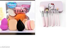 hello kitty make up brushes with beauty blender ( pack of 6)