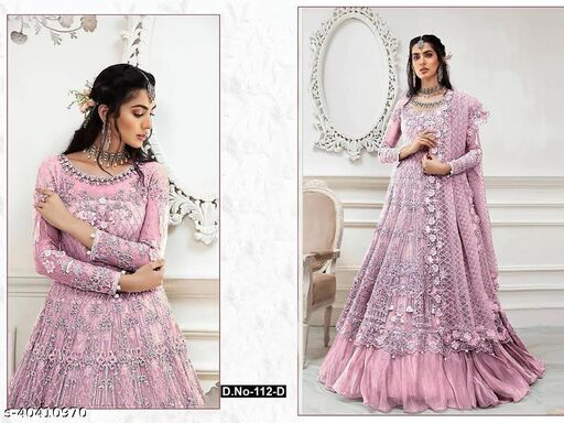 Pink color Net with embroidery work net material Pakistani Suit