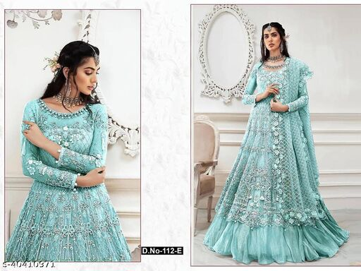 Firoji color Net with embroidery work net material Pakistani Suit